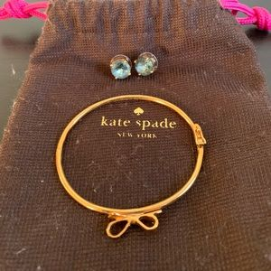 Kate spade bow bracelet and blue gumdrop studs